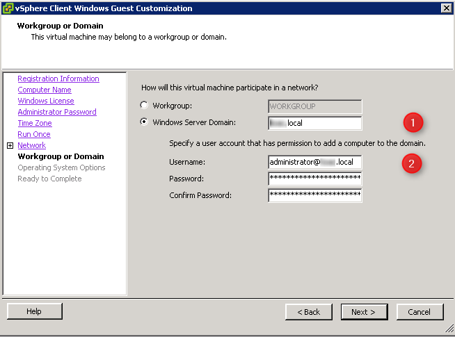 Unable to join domain when deploy a template using guest ...