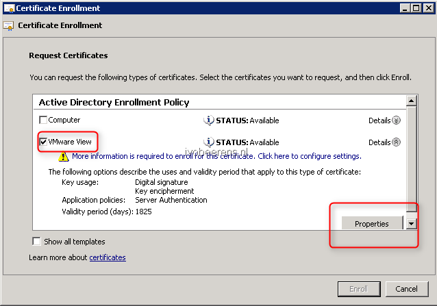 Create a signed certificate for vmware view connection servers using in subject subject name type select common name enter the fqdn name of the vmware view horizon connection server yelopaper Image collections